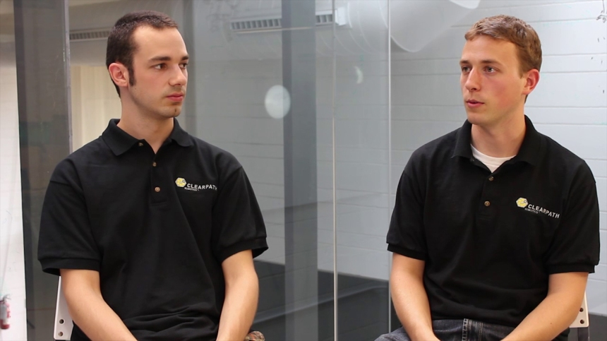 Patrick Martinsen and Brian Webb, co-founders of Clearpath Robotics, a company specialized in the design and manufacture of unmanned vehicles.